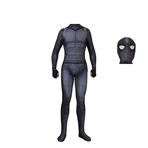 Spiderman Kostüm Männer - JUFENG Erwachsene Spiderman Kostüm Body Jumpsuit Männer Far from Home Cosplay Kostüm Zentai,Black-Separate-Adult/M