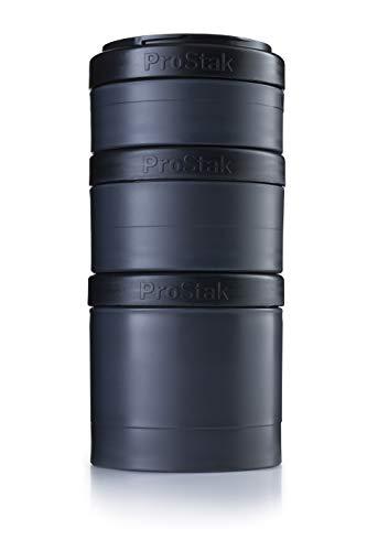 BlenderBottle ProStak Expansion Pak, 3 Pak Container (250 ml, 150 ml und 100 ml) inklusive 1. Pillenfach, schwarz