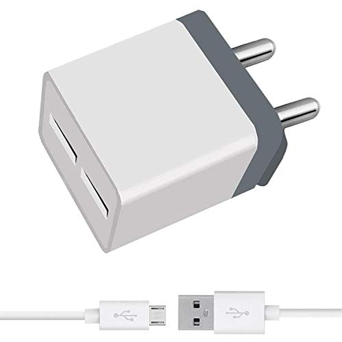 Dual Port 2.4 A Mobile Charger for Panasonic Eluga Icon 2 Charger Fast Wall Adapter with Micro USB Charging Cable (White)