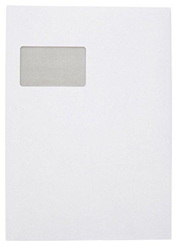 Idena 10236 - Versandtasche DIN C4, 90 g/m²,  selbstklebend, mit Fenster, 250 Stück, FSC-Mix, weiß