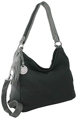 Jennifer Jones - Medium Damen Handtasche - Mittelgroße edle Umhängetasche mit Schultergurt und Tragegriff (Schwarz) -