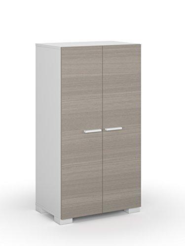 Habitdesign 0B7816O - Mueble armario zapatero, color Blanco y Fresno, medidas: 55x108x36 cm de fondo