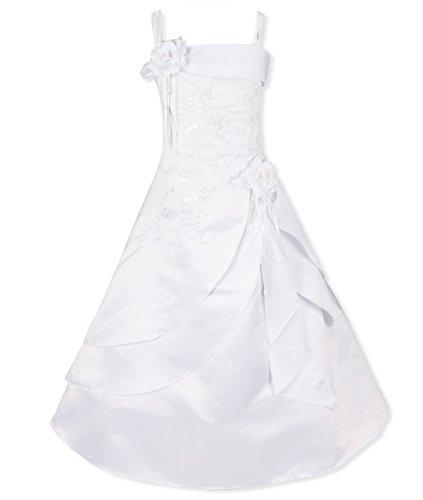 YiZYiF Kinder Mädchen Kleider Lang Brautjungfern Kleid Prinzessin Festlich Hochzeit Party Kleid Weihnachtskleid Gr. 98-164 Weiß 140-152 (Lace Up Kleid Kostüme)