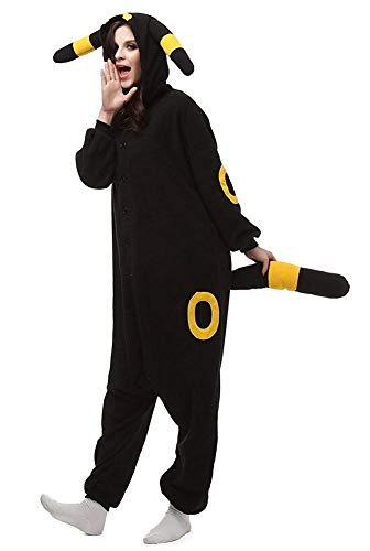 Casa Pyjamas Tieroutfit Schlafanzug Tier Onesies Sleepsuit mit Kapuze Erwachsene Unisex Overall Halloween Kostüm (Medium, Gelb Umbreon)