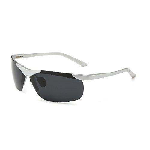 Sunbo Herren Sonnenbrille Gr. Medium, Silver with Black Lens