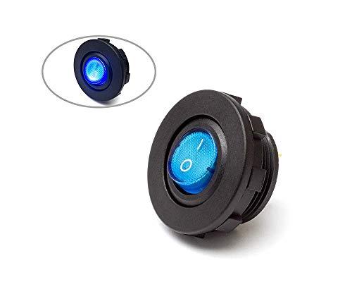 Bleu Forspero 12V 4 Broches 12mm LED m/étal Bouton Poussoir momentan/é Interrupteur dalimentation /étanche