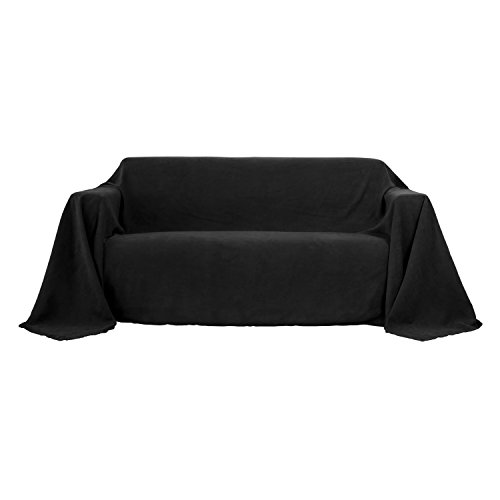 Deconovo Sofabezug Sofa Überwurf Sessel Bezug Wildleder Optik 210x280 cm Schwarz