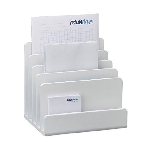 Relaxdays Dokumentenhalter Bambus, Briefablage, 5 Fächer Ordnungssystem, Schreibtisch Organizer HBT...