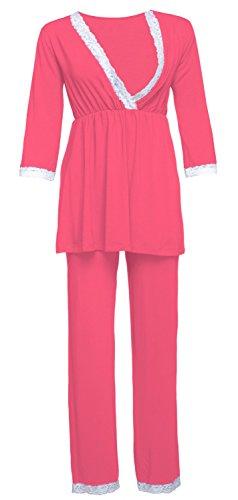 Happy mama. premaman vestaglia/camicia notte/pigiama venduti separatamente. 591p (corallo, it 48, 2xl)