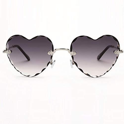 XUELIANG Sonnenbrille/Brille/Sonnenbrille/UV-Schutz Liebe Herz Retro rahmenlose Sonnenbrille großes Gesicht Sonnenbrille abnehmen