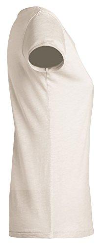 YTWOO Lara Slub, Damen Basic T-Shirt Aus 100% Bio-Baumwolle mit U-Ausschnitt, Bio Kurzarmshirt mit Slub-Look Organic Cotton Vintage Weiß