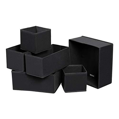 Songmics divisore per cassetti, organizzatore per armadio, set di 6, scatole di stoccaggio pieghevoli in tnt, per calze, biancherie, reggiseni, cravatte, sciarpe, nero rdz06h
