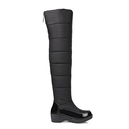 AgooLar Damen Hoch-Spitze Weiches Material Mittler Absatz Rund Zehe Stiefel mit Metallisch Schwarz