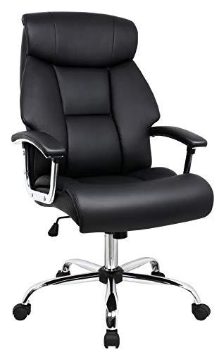 Amoiu Bürostuhl, Sessel für Computer aus Kunstleder, Rückenlehne, große Sitzfläche, komfortable Kopfstütze und gepolstertes Kissen, Schwarz -