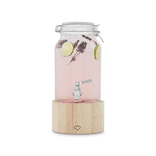 Dispensador de Bebidas con Grifo de Acero Inoxidable GRETA | Dispensador Bebidas Botella vidrio con soporte de Madera | Mason Jar Vintage Design |