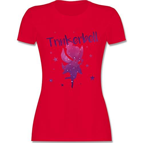 Typisch Frauen - Trinkerbell - S - Rot - L191 - Damen T-Shirt Rundhals