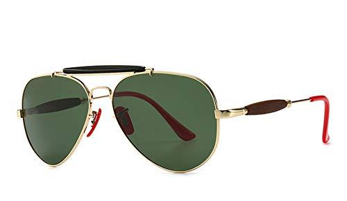 JFSKD Herren Polarized Punk Style Sonnenbrillen Trend Big Frame Aviator Sonnenbrillen,goldframedarkgreenlens