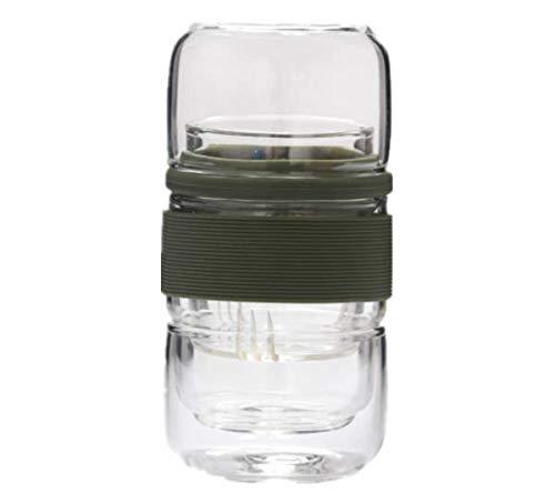 TENGGO Glass Convenient Tasse Reise Tee Set Mini Kung Fu Tee-Tasse Filter EIN Topf von Zwei Tassen mit Reisebag-Grün