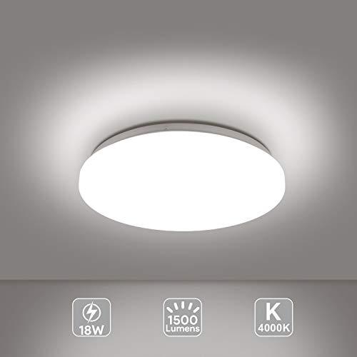 EISFEU LED 18W Lámpara de Techo, Reemplaza 100W Bombillas Incandescentes, Súper Fácil de Instalar, Ø 280mm Blanco Natural 4000K [Clase de eficiencia energética A+]