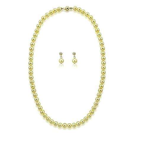 akwaya Femme 14K Boucles d'oreille et collier perle–50,8cm Jeux, AAA