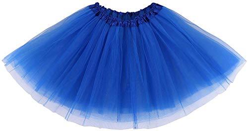 Ksnrang Damen Tütü Rock Minirock 4 Lagen Petticoat Tanzkleid Dehnbaren Mini Skater Tutu Rock Erwachsene Ballettrock Tüllrock für Party Halloween Kostüme Tanzen (Königsblau)