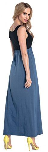 Glamour Empire. Femme Maxi Robe Sans Manches Jupe Évasée Taille Empire. 292 Noir & Bleu Jeans