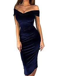 ac032b69b478 Hibote Abito Aderente con Scollo a Barchetta - Donna Sexy Senza Spalline  Slim Fit Abito in Velluto Vintage Maniche Lunghe Tinta Unita…