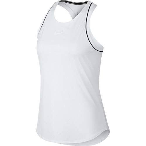Nike Damen W NKCT Dry Tank, Weiß (White/Black), L - Damen Tennis-bekleidung Nike