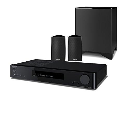 Onkyo LS5200(B) 2.1-Kanal Heimkinosystem, inkl. Satelliten Lautsprecher und Subwoofer (WLAN, Bluetooth, Musik Streaming, Spotify, Deezer u.a., Internetradio, DAB+, Multiroom, Slimline Design), schwarz