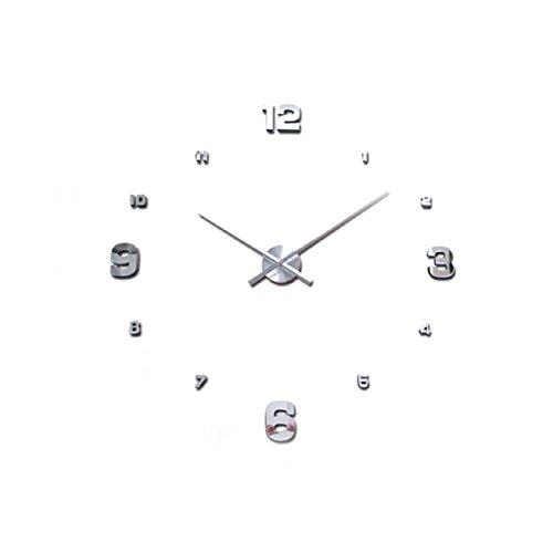 Malloom® reloj de pared adhesivo,Lujo 3D DIY Grande Espejo Reloj de pared (plata)