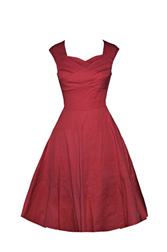 Kostüme Damen 1940's (iLover 40s 50s 60s Retro vintage Rockabilly kleid Hepburn Stil Partykleid Cocktailkleid 50er Jahr Abendkleid Weinrot)