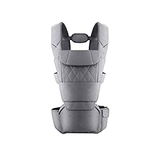 KOIUJ Seat Ergonomic 3D Baby Carrier 2 in 1 Soft Baby Hipseat Wrap Carrier Front and Back for Outdoor Travel Waist Stool for Women Men Newborn Baby Infant (Gray)   6