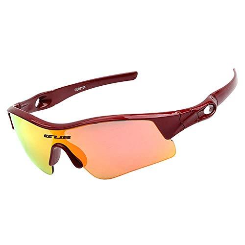 Hamkaw Kinder Fahrradbrille, polarisierte Sport-Sonnenbrille mit 2 austauschbaren Gläsern, UV400 Augenschutz, unzerbrechlicher Rahmen für Jungen Mädchen Laufen, Angeln, Skifahren rot