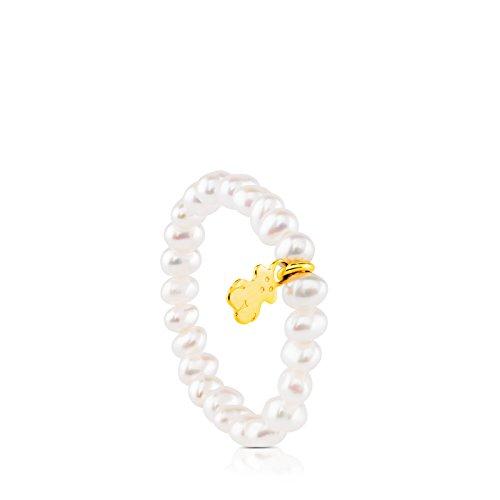 Anillo elástico TOUS Pearls con perlas y oso...