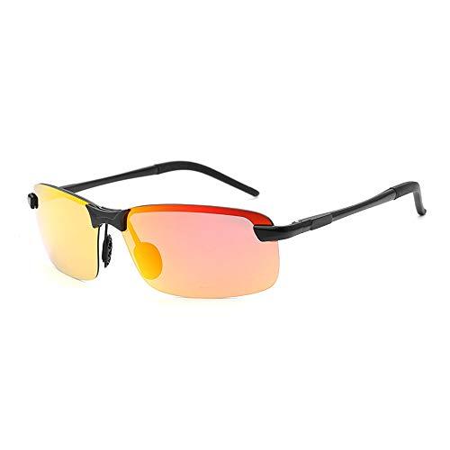 Männer klassische quadratische Rahmen-Art- und Weisefrosch-Spiegel-Sonnenbrille UVschutz polarisierte Aluminiumlegierungs-Sonnenbrille für Sonnenbrillen und flacher Spiegel ( Color : Rot )