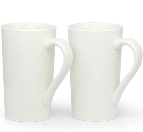 20Oz Große Kaffee Tassen, zocokey M007Uni hoch Keramik Tasse für Dad Herren, Weiß, 2Stück (20 Unze-kaffee-tasse Deckel)