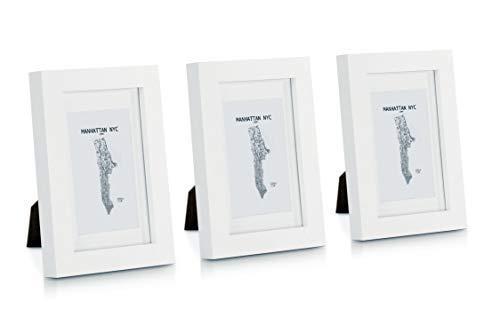 Classic by Casa Chic - Echtholz Bilderrahmen 10x15 cm - Weiß - 3er Set - mit Passepartout - Rahmenbreite 2cm