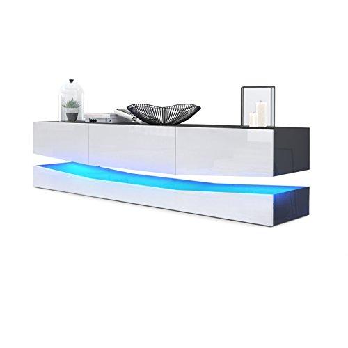 Meuble TV Armoire basse City, Corps en Noir haute brillance / Façades en Blanc haute brillance avec l'éclairage LED