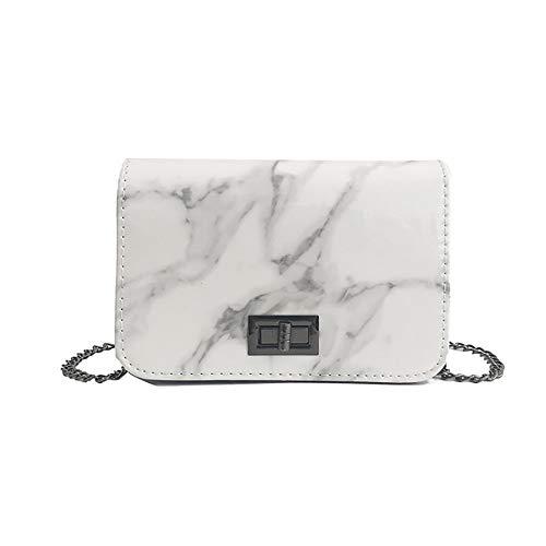 Square Marmor (HCFKJ Tasche, Frauen Marmor Muster Umhängetasche Verschluss Schnalle Wild Messenger Kleine Square Bag (WH))