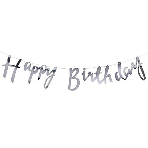 Geburtstagsgirlande Happy Birthday Girlande in Silber - Länge 1,5 Meter - Höhe ca. 17cm (Happy Birthday Männer)