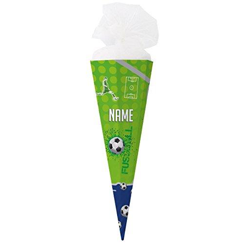 Striefchen® Schultüte mit Fußball-Motiv mit Namen des Kindes zum Schulstart - fertig gebastelt, eckig 80 cm