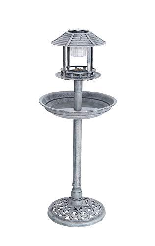 Vogelbad Vogeltränke XL H: ca. 98cm mit Standfuß Vogel Futterstelle Vogelhaus Tränke Solar Leuchte Solarlicht Steinlook hellgrau