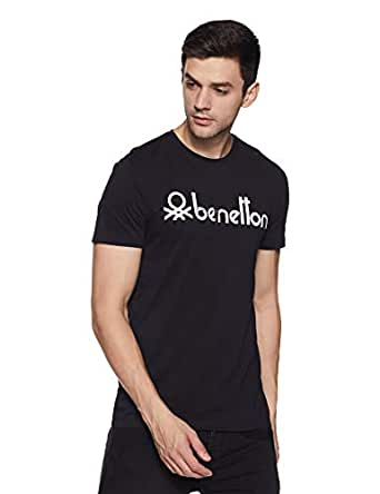 United Colors of Benetton Men's Printed Regular Fit T-Shirt (18P3SPLJ1046I_100_L_Black_Large)