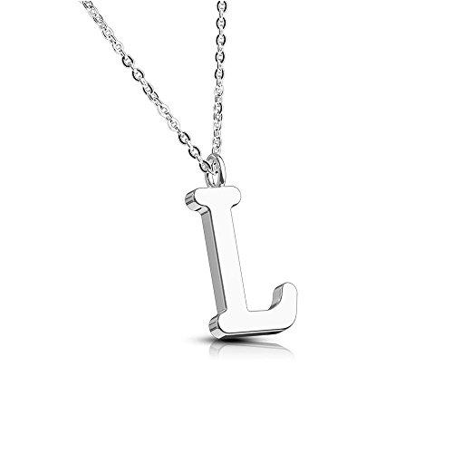 Bungsa Buchstabe L Halskette Silber - Buchstaben-ANHÄNGER L Kette in Rosegold - Alphabet Kette für Frauen & Männer - aus Edelstahl - Schmuck für Jungen & Mädchen