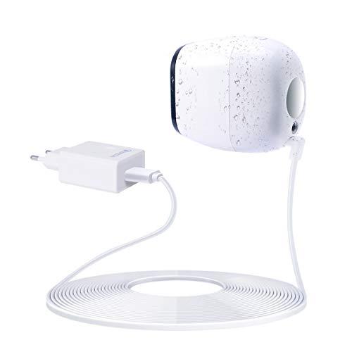 er Ladegerät für Arlo Pro mit 5m USB Ladekabel kompatibel mit Arlo Pro VMS4330/ Arlo Pro 2 VMC4030P Überwachungskamera Smart Home Zubehör (QC 3.0 Ladeadapter und Kabel, Weiß) ()