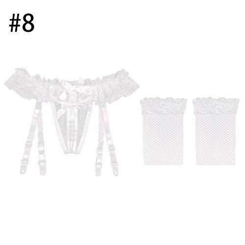 GSYClbf-Frauen Faux Pearl Open Crotch Bogen Spitze Strumpfband G-String Unterwäsche mit Strümpfen - 8# (Strumpfhosen Faux Strumpfband)