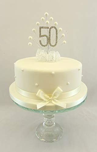 Karen's Cake Toppers Décoration perle Burst Vaporisateur Diamante 50e anniversaire perles Ivoire