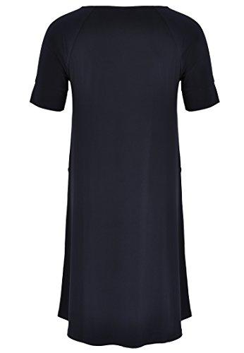 Yoek Damen Übergrößen Kleid Kurzarm Marineblau