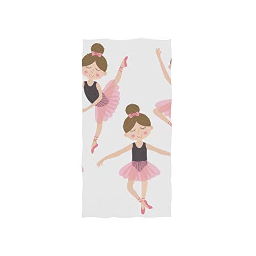 Niedliche Ballerina Rosa Mädchen Soft Spa Strand Badetuch Fingerspitze Handtuch Waschlappen Für Baby Erwachsene Badezimmer Strand Dusche Wrap Hotel Reise Gym Sport 30x15 Zoll (Für Tutus Erwachsene Billige)