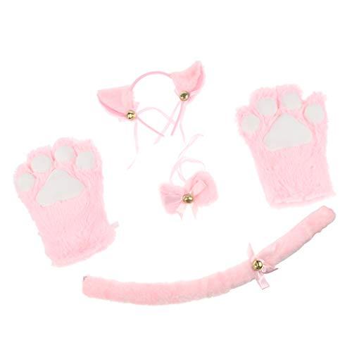 Baoblaze Katze Cosplay Set Plüsch Handschuhe Kätzchen Ohr Schwanz Kragen Pfoten Party Kostüm - Rosa